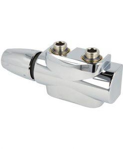 heimeier radiator onderaansluiting type multilux 4 universeel onderblok met dx thermostaatknop kleur chroom