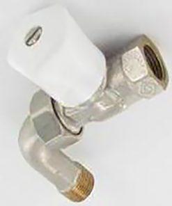 Heimeier radiatorkraan type handbediende mikrotherm recht met bocht