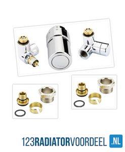 radiator installatie pakket chroom aansluiting handdoekradiatoren
