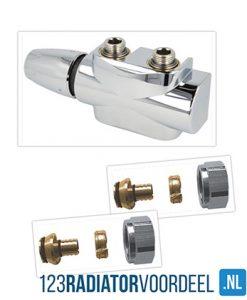 radiator installatie pakket design chroom universele onderaansluiting radiatoren