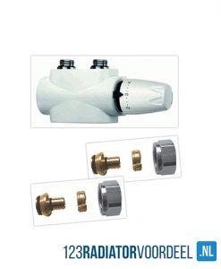 radiator installatie pakket design wit universele onderaansluiting radiatoren