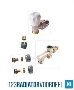 Radiator installatie pakket handbediende zij-onderaansluiting hoh 50 radiatoren