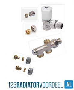 Radiator installatie pakket handbediende zij-onderaansluiting radiatoren