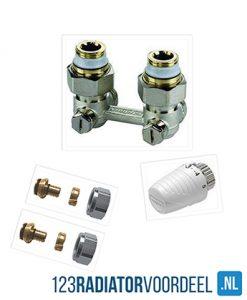 Radiator installatie pakket laterale onderaansluiting ventiel radiatoren