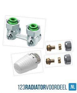Radiator installatie pakket onderaansluiting ventiel radiatoren