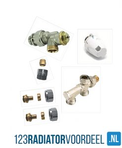 Radiator installatie pakket thermostatische zij-onderaansluiting hoh 50 radiatoren