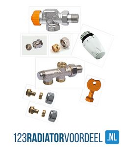 Radiator installatie pakket thermostatische zij-onderaansluiting radiatoren